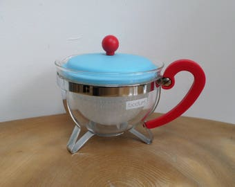 Smart Vintage Bodum Glass Infuser,Filter Teapot - turquoise blue & red plastic lid,handle