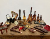 Vintage Collection of Miniature Musical Instruments, Hand Made, Carved, Painted, Polished Wood, for Display, Dollhouse