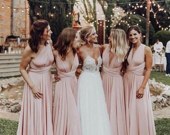8d46ae57f205 LONG Bridesmaid Dress // Infinity Dress // Floor Length // Maxi Wrap //  Convertible Dusty Rose Dress // Wedding Dress // Multiway Dress