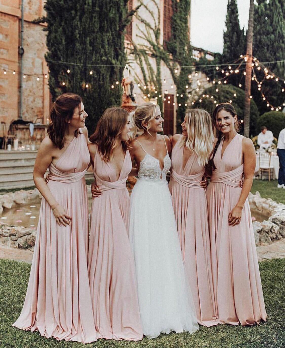 10875f271418d LONG Bridesmaid Dress // Infinity Dress // Floor Length // Maxi Wrap //  Convertible Dusty Rose Dress // Wedding Dress // Multiway Dress