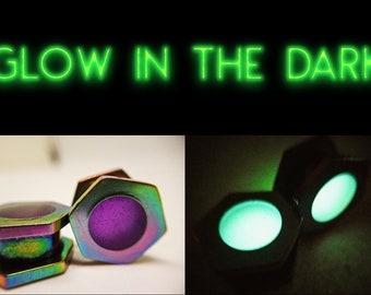 Glow in the Dark Double flare ear plugs UV ear plugs multiple sizes Gorgeous Glow in the dark!