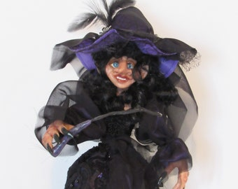"Amara, 19"" Purple Witch, Halloween Witch, Witch Decor, Handmade Art Doll, Halloween decor, Whimsey Witch, Witch Ornament, by ds hahn"