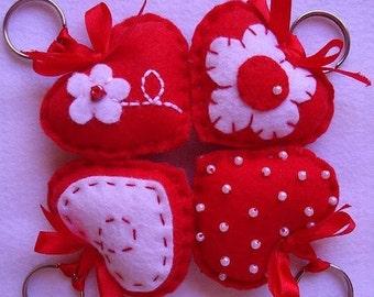 Felt Heart keychain red heart felt accessories Baby shower gift for him gift for her key holder Valentine's day gift Housewarming home decor