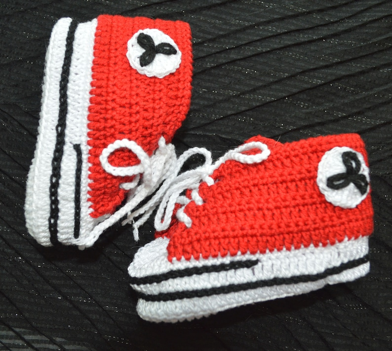 f873f635e0c80 Red Baby booties Crochet baby shoes Converse style Booties for newborns  Baby shoes For babies Baby Converse Crochet Newborn gift newborn