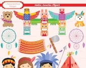 Red Indian, Chief, Warrior, Princess, Bow, Arrow, Dreamcatcher, Totem Pole, Digital Stamp, Clipart, Scrapbook, Commercial use