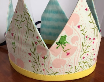 Reversible Frog and Flower Fabric Crown