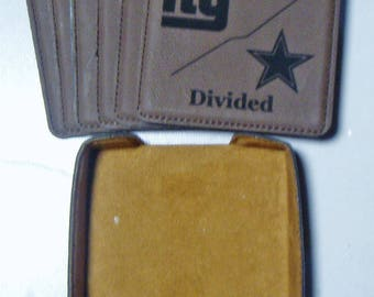 Custom House Divided Set of 6 Engraved Leatherette Coasters in a case All Teams Available