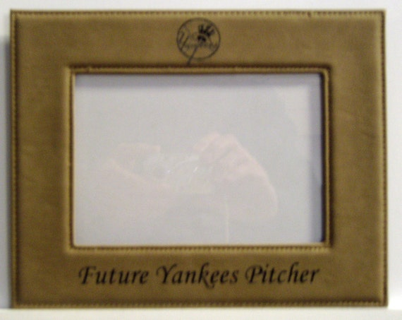 New York Yankees Laser Engraved Leatherette Picture Frame For Etsy