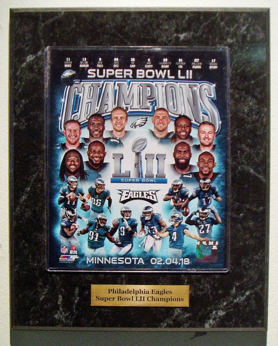 Philadelphia Eagles Super Bowl LII Champions team plaque with large engraved nameplate with season results