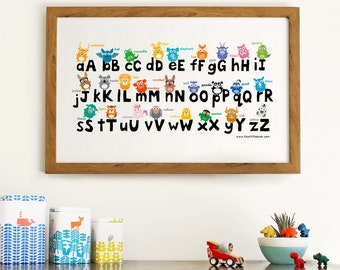 Animal alphabet print    ABC print for kids bedroom    modern nursery decor    alphabet print