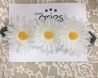 TWO LEFT! Daisy Flower Crown - Summer bow - Hair Bow Baby Toddler - Floral Crown - White Flower Crown - Flower Girl - Daisy Wedding - Baby