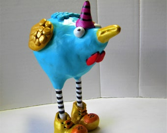 Whimsical chicken clay sculpture, Sassy