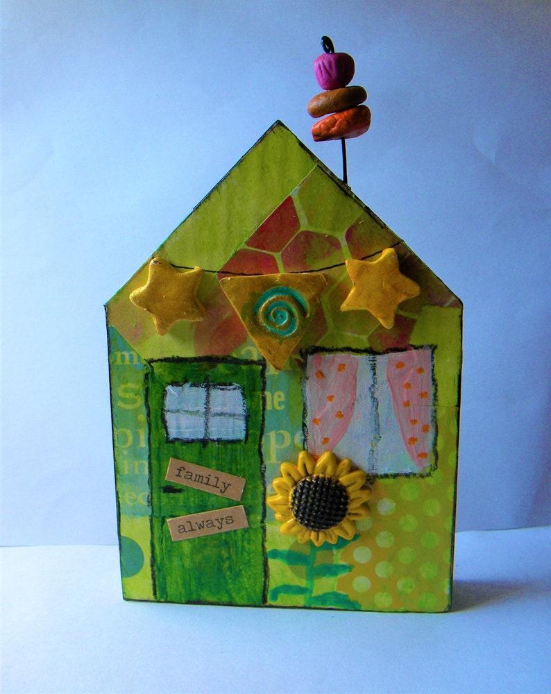 Whimsical wooden art house home decor image 0