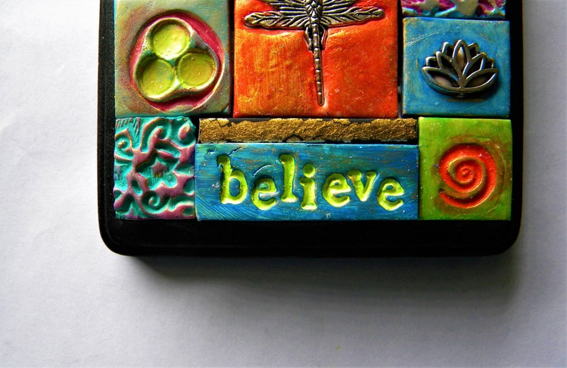 boho style Polymer clay mosaic wall plaque