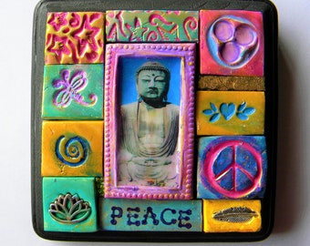 Wall art, mosaic plaque with the Buddha