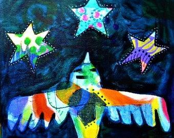 Thunderbird, acrylic painting, original art, wall art, intuitive art