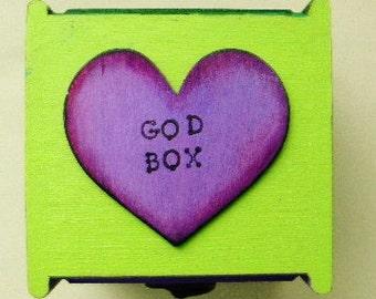 God box, decorated box, wooden box, intention box, colorful heart box