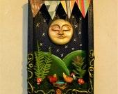 Moon and bird 39 s nest diorama, wall art.