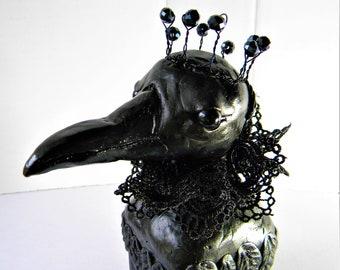 Raven queen clay and wood sculpture