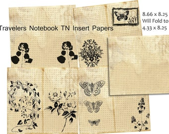 Travelers Notebook Paper Kit, TN Insert, Dot Graph Paper, Coffee Stained Vintage TN Inserts, Midori Printable, Faux Dori Digital