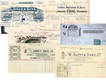 Vintage Receipts, Ledger, Letterhead, Vintage Font, Junk Journal Embellishment, Printable Digital Retro Paper, Ephemera, Vintage Script