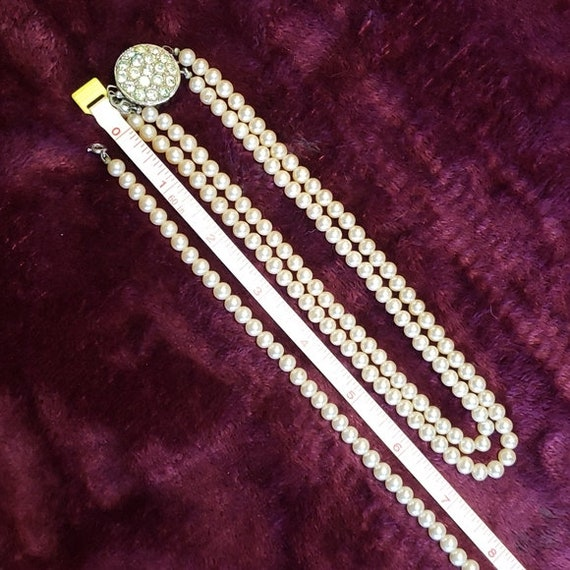 Sarah Coventry faux pearl & glass rhinestone chok… - image 6