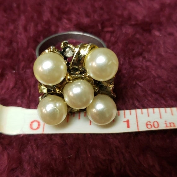 Vintage Faux Pearl Adjustable Ring - image 8