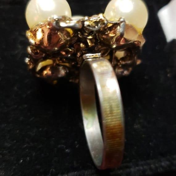 Vintage Faux Pearl Adjustable Ring - image 5