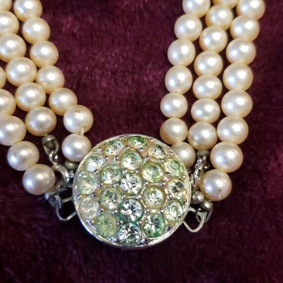 Sarah Coventry faux pearl & glass rhinestone chok… - image 4