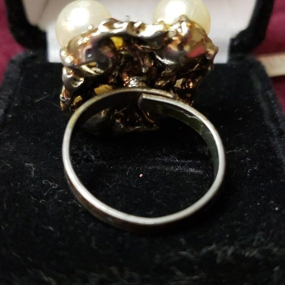 Vintage Faux Pearl Adjustable Ring - image 6