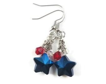 4th of July Earrings/Stars & Stripes/Star Earrings/USA Jewelry/Patriotic Earrings/Flag/Red Earrings/Blue/White/Earrings/Summer Jewelry