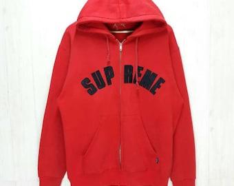 57691b589c53 Vintage Supreme Box Logo Hoodie Zipper Up Red Colour Streetwear Skateboard  HipHop Large Size