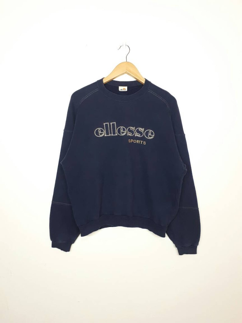 e9bc45c4 Vintage Ellesse Sweatshirt / Jumper / 90s Vintage / Dark Blue / Embroidered  Big Logo / Medium Fit Size