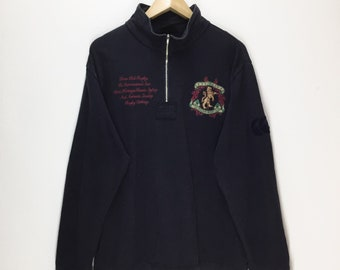 Rare Vintage Canterbury Of New Zealand Sweatshirt / Half Zipper Sweater / XL Oversize