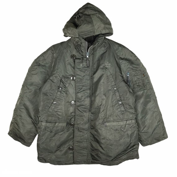 Vintage Alpha Industries Jacket Hooded / Green Arm