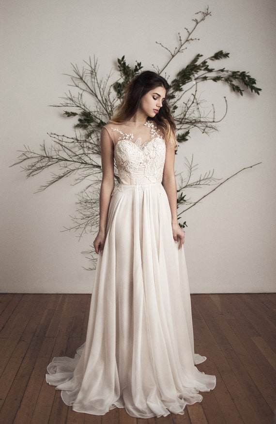 Silk Chiffon Wedding Dress Etsy
