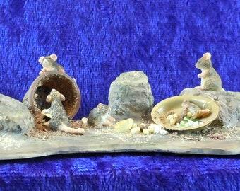 Dollhouse Miniature accessory.  Mischievous mice/mouse scene with 6 mice.  Item #117.