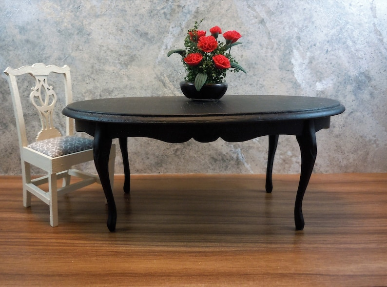 1//12 Dollhouse Miniature Red Wood End Table Coffee Table Furniture Model
