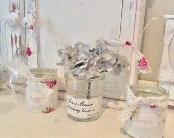 Shabby Chic Handcrafted Tea Light Holder / lantern / hanging Jar Cwtch Design Cath .Kidston Style