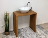 Washbasin wood made of solid armourulme rustic noble with sink and fitting made in Remagen/Rhine