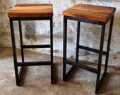 Vintage bar stool old wood oak-steel tube iron flamed for kitchen 66 cm