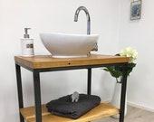 washbasin,wood,washable table made of oak, steel base with shelf,customizable