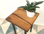 stool, side table, bedside table, made of reclaimed wood, oak, steel frame, handmade