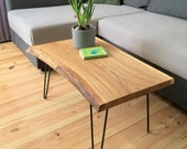 Coffee table, oak, side table, solid oak living room table, round steel hairpin legs, remagen/Rhine craftsmanship,NACHHALTIG