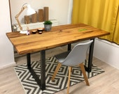 Desk, dining table, office table in reclaimed wood oak, with steel frame, removable steel inlay for decoration