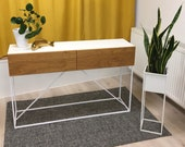 Chest of drawers Sideboard Higboard consol table with drawer oak steel frame craftsmanship from Remagen/Rhine