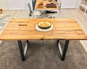 Desk, dining table, office table made of reclaimed wood oak, with steel frame, for a special living ambience