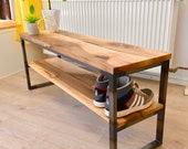 Bench,Bank,Storage room,Storage,Walnut solid,Steel frame,Handwerskskunst from Remagen/Rhine