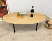 Coffee table, living room table, coffee table ! Special! Table oval, veneered oak, craftsmanship from Remagen/Rhine
