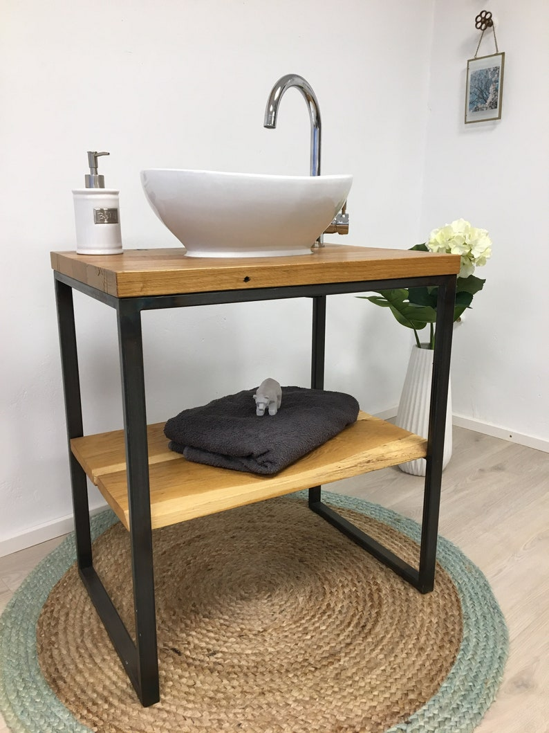 washbasinwoodwashable table made of oak steel base with image 0